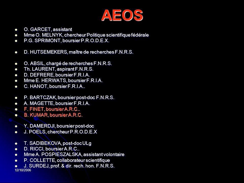 12/10/2006 AEOS O. GARCET, assistant O. GARCET, assistant Mme O. MELNYK, chercheur Politique scientifique fédérale Mme O. MELNYK, chercheur Politique