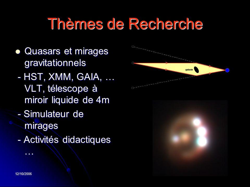 12/10/2006 Thèmes de Recherche Quasars et mirages gravitationnels Quasars et mirages gravitationnels - HST, XMM, GAIA, … VLT, télescope à miroir liqui