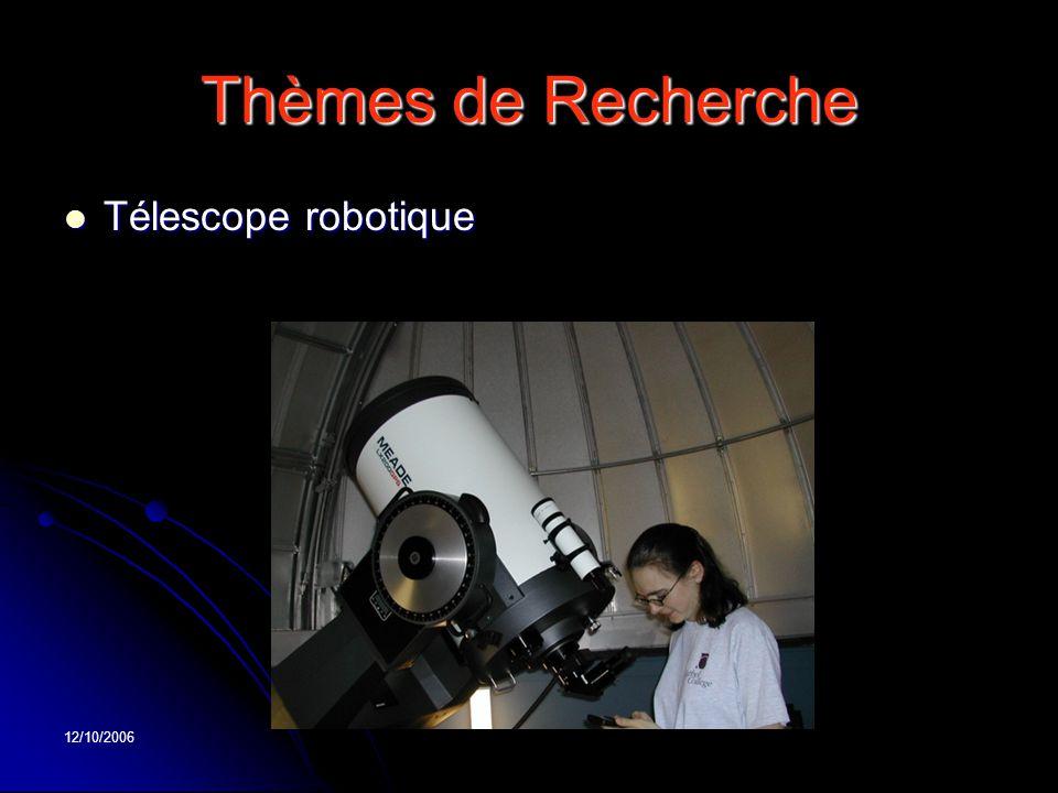 12/10/2006 Thèmes de Recherche Télescope robotique Télescope robotique