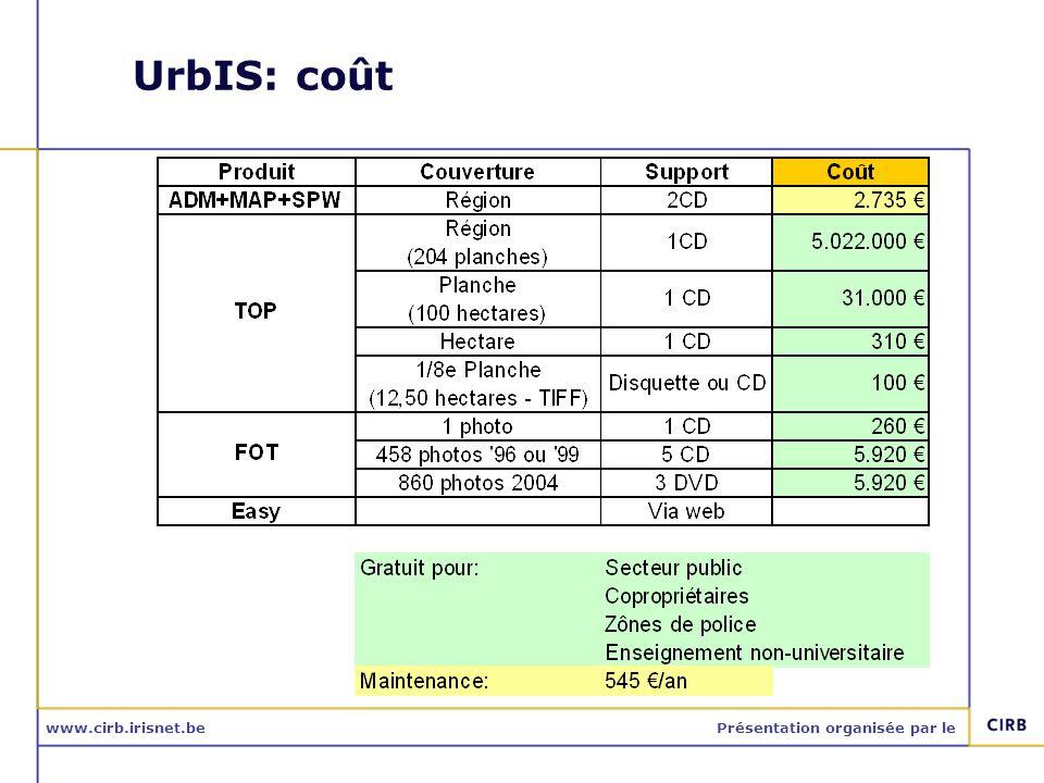 www.cirb.irisnet.bePrésentation organisée par le UrbIS: coût
