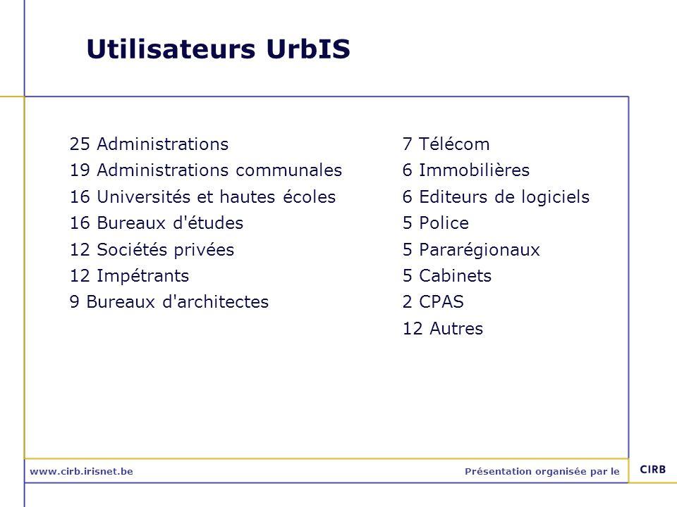 www.cirb.irisnet.bePrésentation organisée par le Utilisateurs UrbIS 25 Administrations 19 Administrations communales 16 Universités et hautes écoles 1