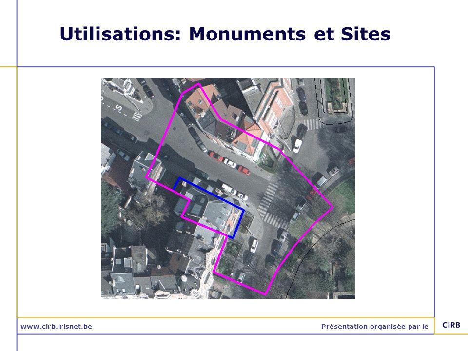www.cirb.irisnet.bePrésentation organisée par le Utilisations: Monuments et Sites