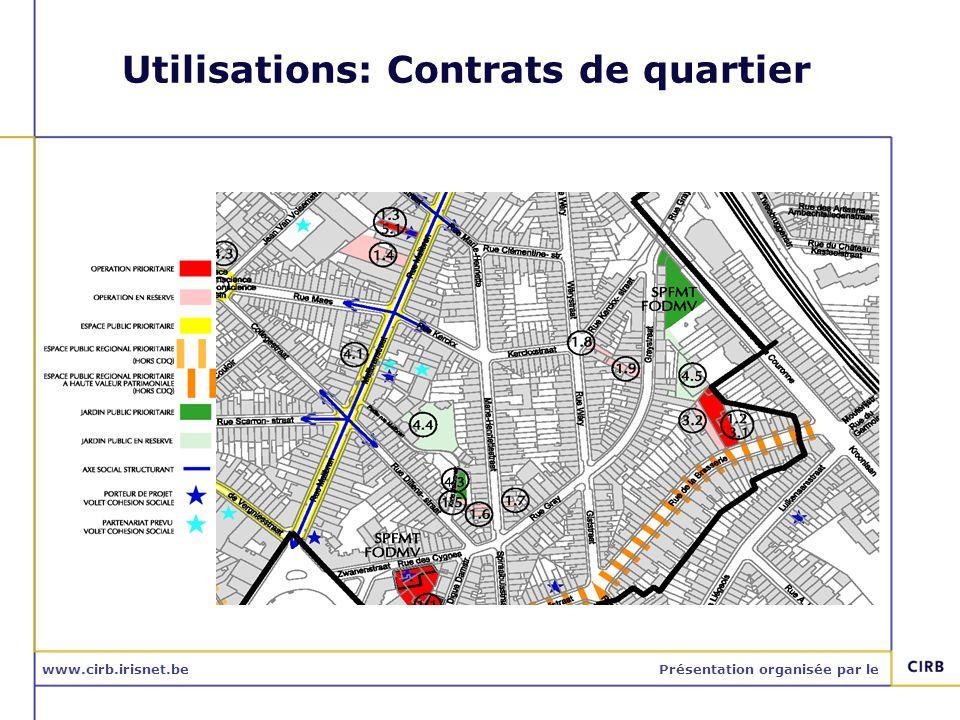 www.cirb.irisnet.bePrésentation organisée par le Utilisations: Contrats de quartier