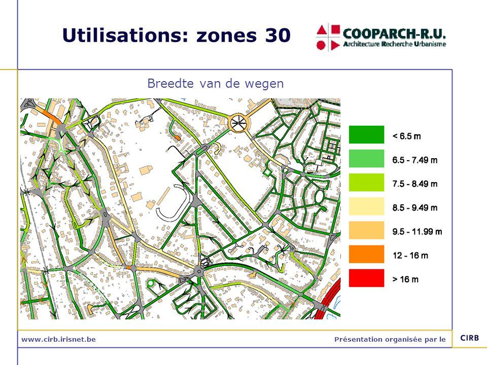 www.cirb.irisnet.bePrésentation organisée par le Utilisations: zones 30 Breedte van de wegen