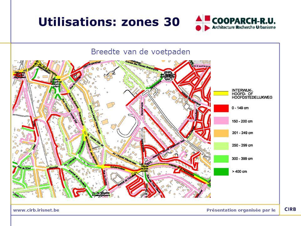 www.cirb.irisnet.bePrésentation organisée par le Utilisations: zones 30 Breedte van de voetpaden