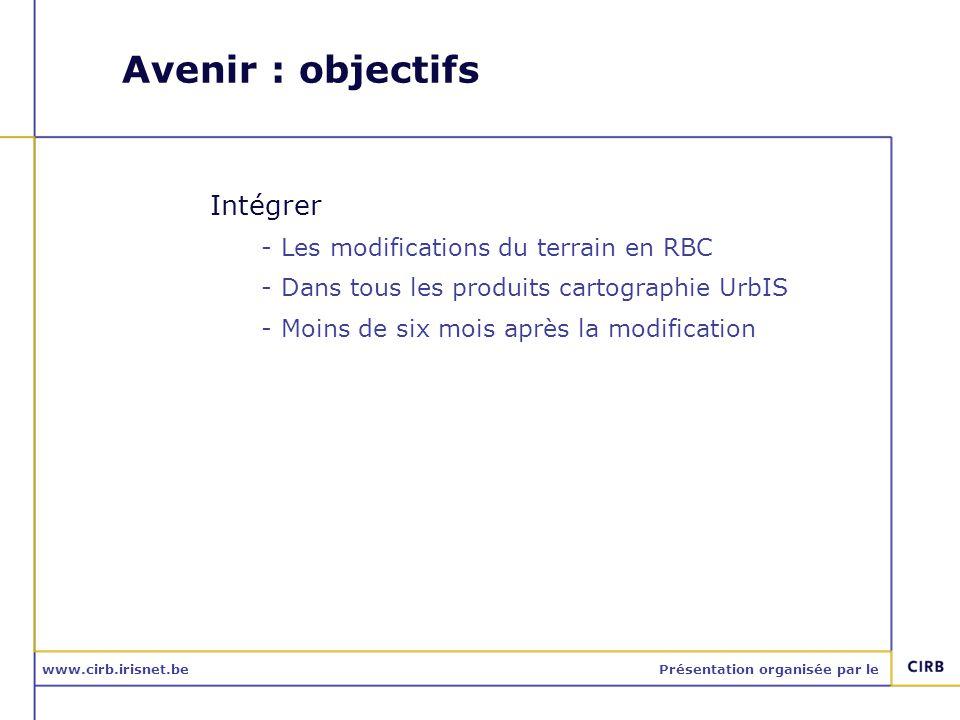 www.cirb.irisnet.bePrésentation organisée par le Avenir : objectifs Intégrer -Les modifications du terrain en RBC -Dans tous les produits cartographie