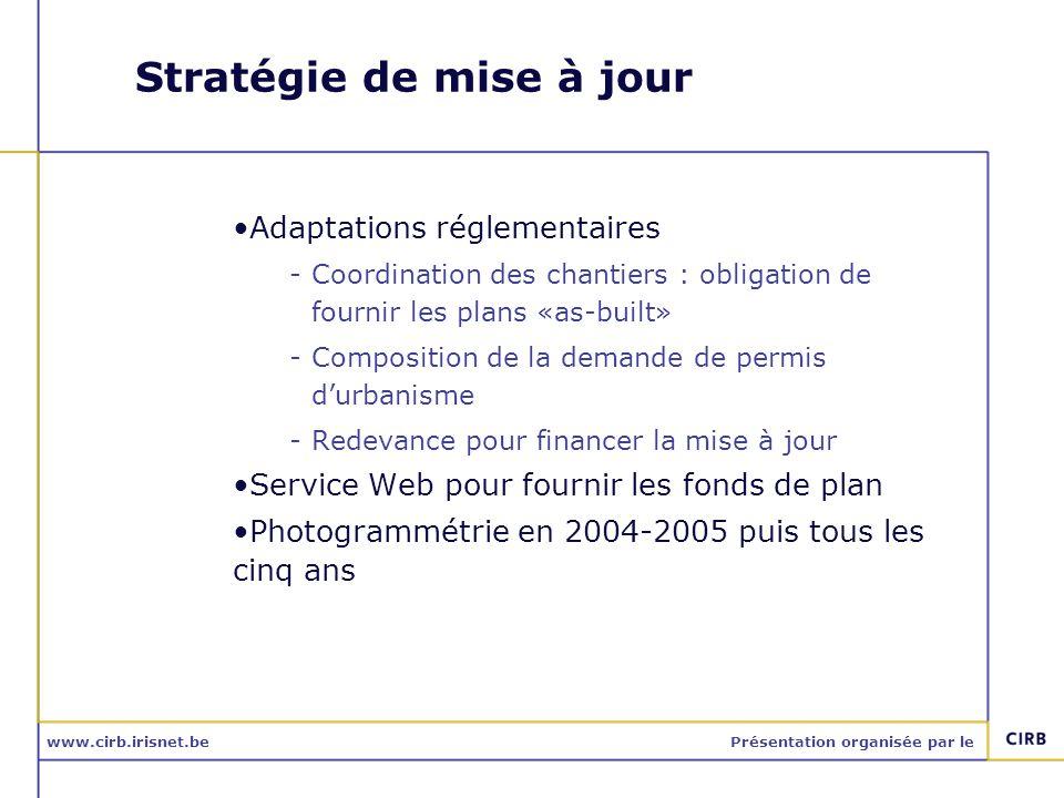 www.cirb.irisnet.bePrésentation organisée par le Stratégie de mise à jour Adaptations réglementaires -Coordination des chantiers : obligation de fourn