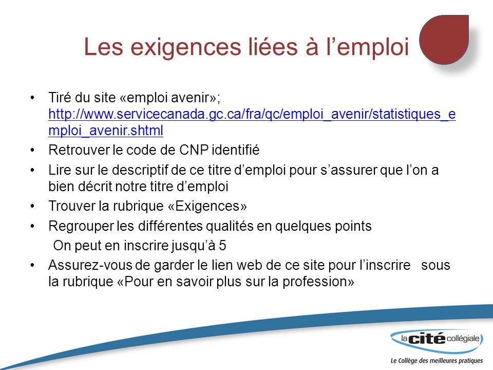 Les exigences liées à l'emploi Tiré du site «emploi avenir»; http://www.servicecanada.gc.ca/fra/qc/emploi_avenir/statistiques_e mploi_avenir.shtml htt