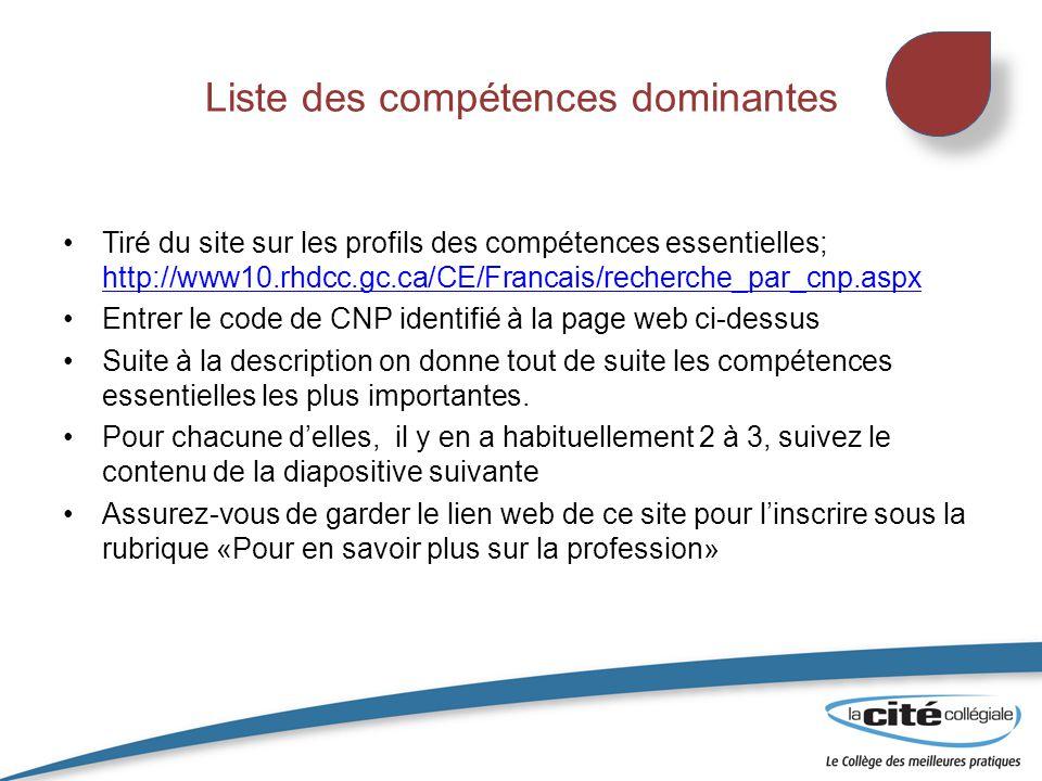 Liste des compétences dominantes Tiré du site sur les profils des compétences essentielles; http://www10.rhdcc.gc.ca/CE/Francais/recherche_par_cnp.asp