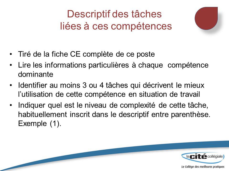 Descriptif des tâches liées à ces compétences Tiré de la fiche CE complète de ce poste Lire les informations particulières à chaque compétence dominan