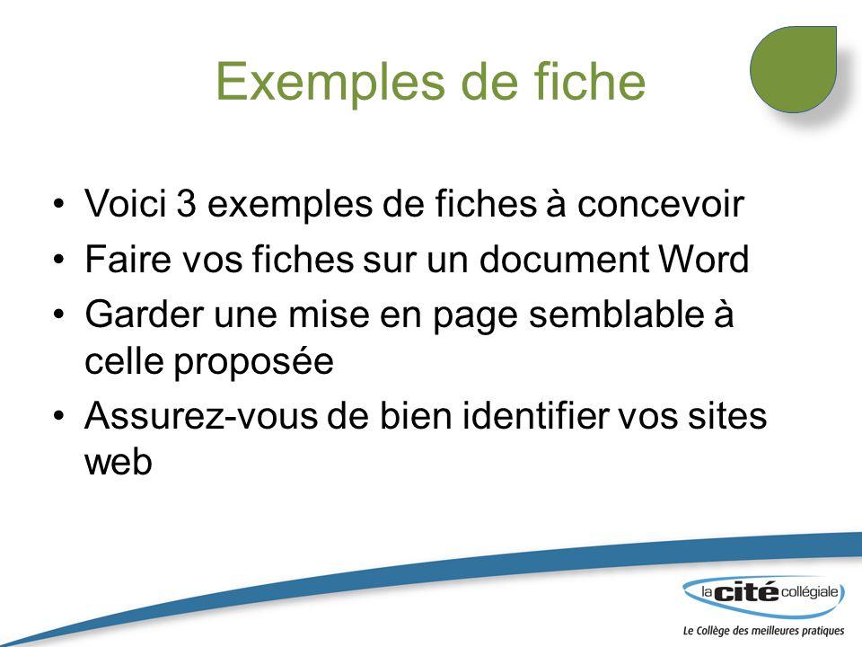 Exemples de fiche Voici 3 exemples de fiches à concevoir Faire vos fiches sur un document Word Garder une mise en page semblable à celle proposée Assu