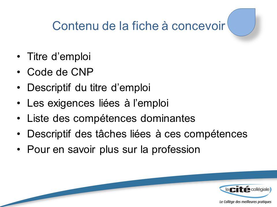 Contenu de la fiche à concevoir Titre d'emploi Code de CNP Descriptif du titre d'emploi Les exigences liées à l'emploi Liste des compétences dominante