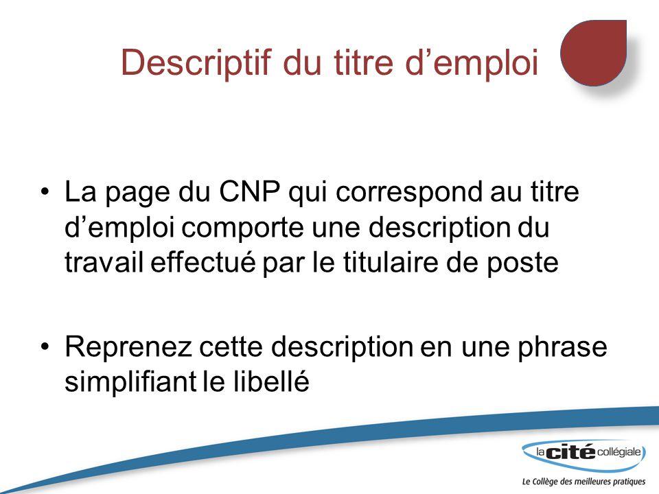 Descriptif du titre d'emploi La page du CNP qui correspond au titre d'emploi comporte une description du travail effectué par le titulaire de poste Re