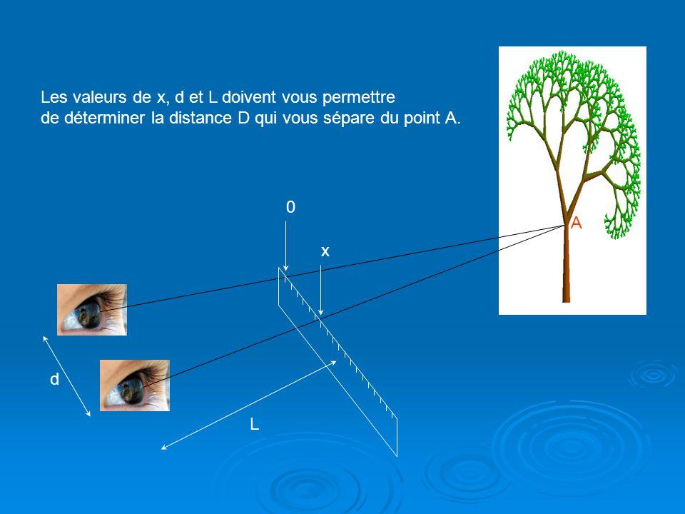 A L d 0 x Les valeurs de x, d et L doivent vous permettre de déterminer la distance D qui vous sépare du point A.