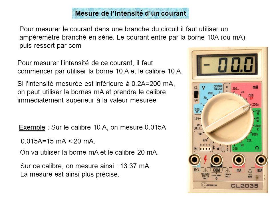 Pour mesurer le courant dans une branche du circuit il faut utiliser un ampèremètre branché en série. Le courant entre par la borne 10A (ou mA) puis r