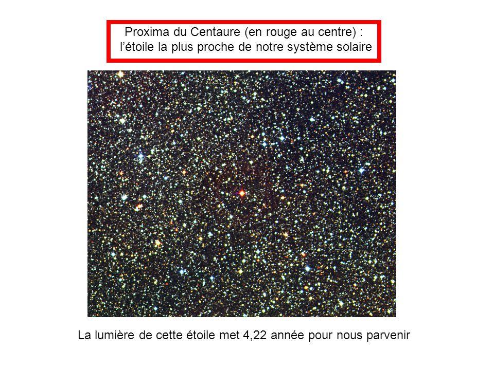 Proxima du Centaure (en rouge au centre) : l'étoile la plus proche de notre système solaire La lumière de cette étoile met 4,22 année pour nous parven