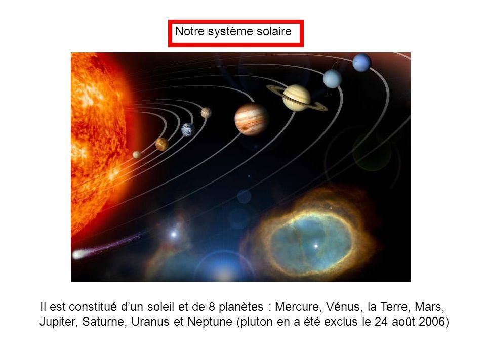 Notre système solaire Il est constitué d'un soleil et de 8 planètes : Mercure, Vénus, la Terre, Mars, Jupiter, Saturne, Uranus et Neptune (pluton en a
