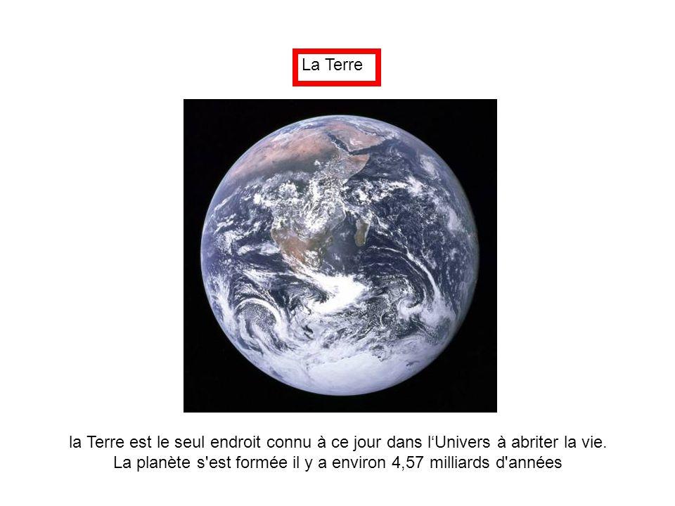 La Terre la Terre est le seul endroit connu à ce jour dans l'Univers à abriter la vie. La planète s'est formée il y a environ 4,57 milliards d'années