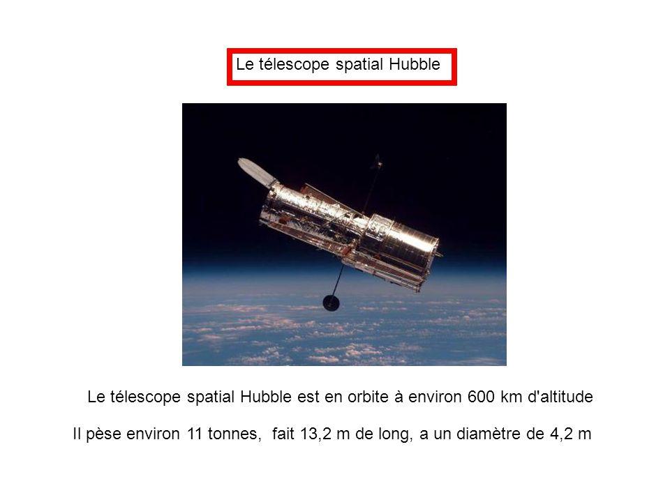 Le télescope spatial Hubble Le télescope spatial Hubble est en orbite à environ 600 km d'altitude Il pèse environ 11 tonnes, fait 13,2 m de long, a un