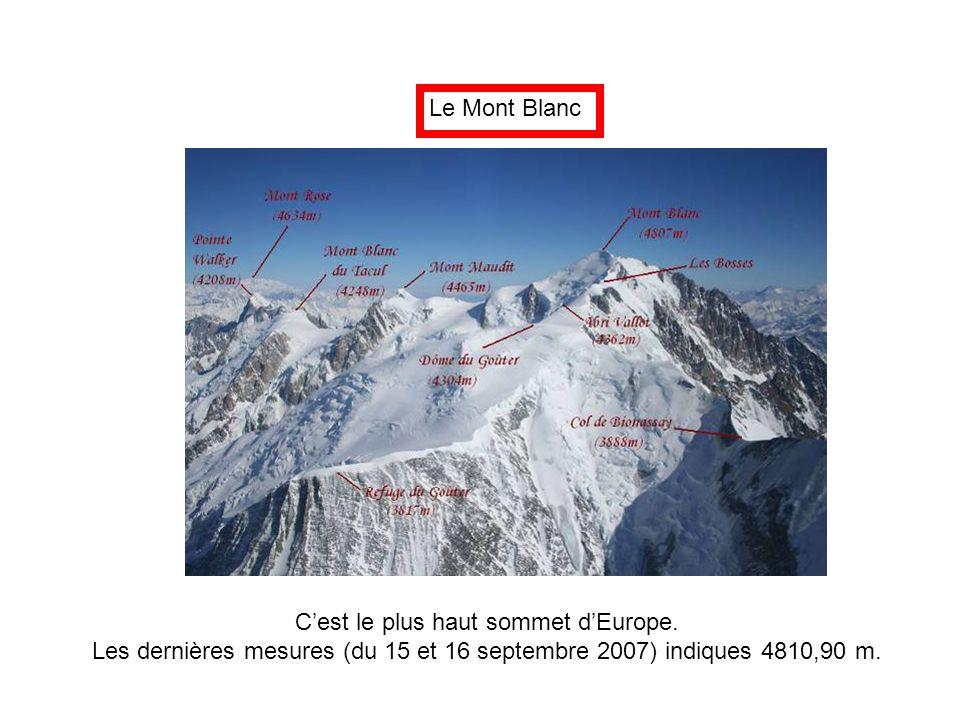 Le Mont Blanc C'est le plus haut sommet d'Europe. Les dernières mesures (du 15 et 16 septembre 2007) indiques 4810,90 m.