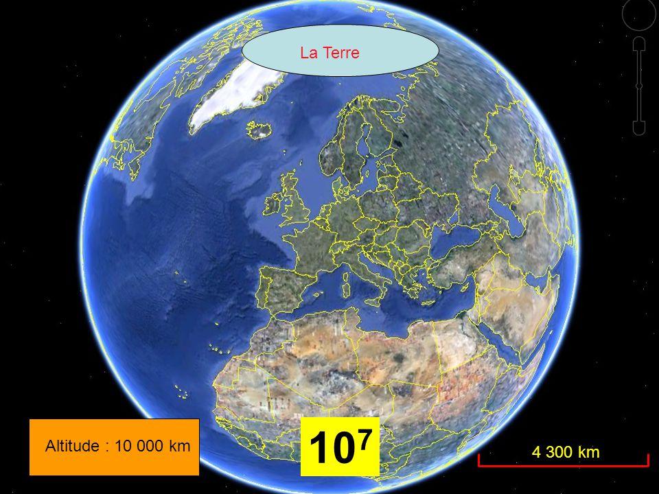Altitude : 10 000 km La Terre 4 300 km 10 7