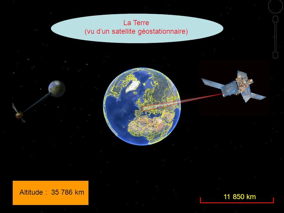 Altitude : 35 786 km 11 850 km La Terre (vu d'un satellite géostationnaire)