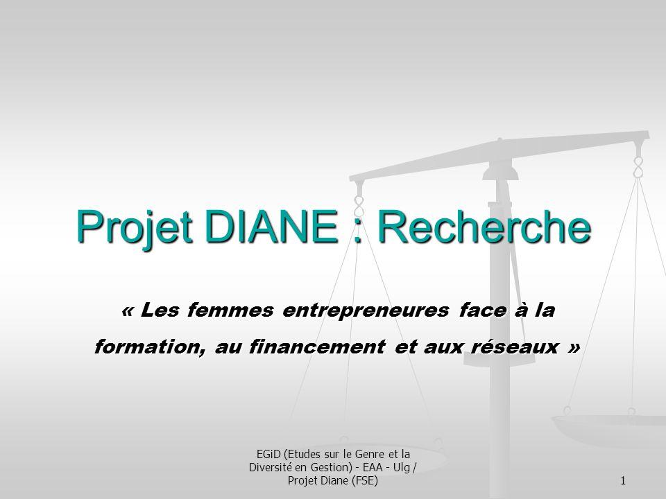 EGiD (Etudes sur le Genre et la Diversité en Gestion) - EAA - Ulg / Projet Diane (FSE)1 Projet DIANE : Recherche « Les femmes entrepreneures face à la