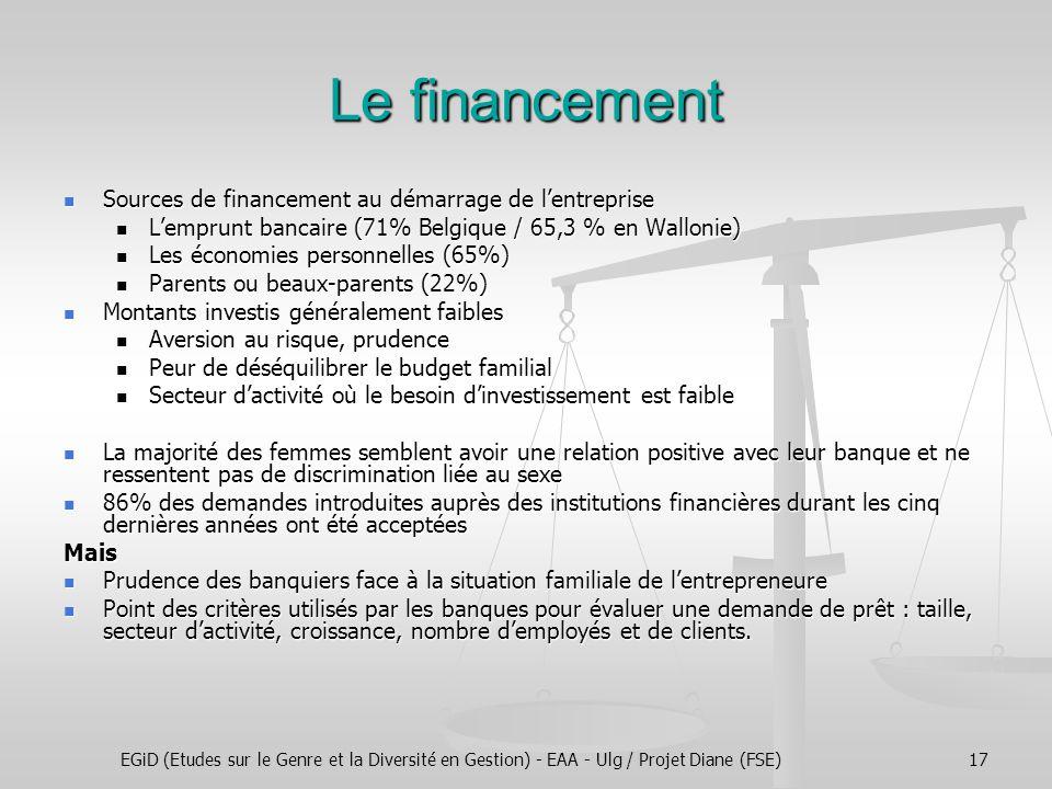EGiD (Etudes sur le Genre et la Diversité en Gestion) - EAA - Ulg / Projet Diane (FSE)17 Le financement Sources de financement au démarrage de l'entre
