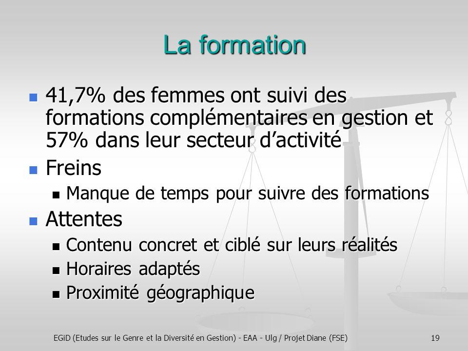 EGiD (Etudes sur le Genre et la Diversité en Gestion) - EAA - Ulg / Projet Diane (FSE)19 La formation 41,7% des femmes ont suivi des formations complé