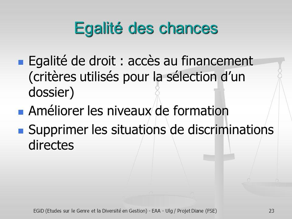 EGiD (Etudes sur le Genre et la Diversité en Gestion) - EAA - Ulg / Projet Diane (FSE)23 Egalité des chances Egalité de droit : accès au financement (critères utilisés pour la sélection d'un dossier) Egalité de droit : accès au financement (critères utilisés pour la sélection d'un dossier) Améliorer les niveaux de formation Améliorer les niveaux de formation Supprimer les situations de discriminations directes Supprimer les situations de discriminations directes