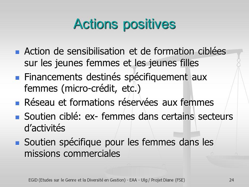 EGiD (Etudes sur le Genre et la Diversité en Gestion) - EAA - Ulg / Projet Diane (FSE)24 Actions positives Action de sensibilisation et de formation c