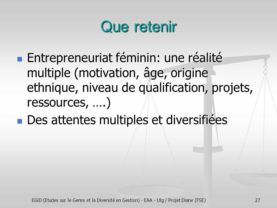 EGiD (Etudes sur le Genre et la Diversité en Gestion) - EAA - Ulg / Projet Diane (FSE)27 Que retenir Entrepreneuriat féminin: une réalité multiple (mo