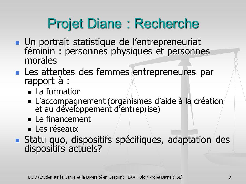 EGiD (Etudes sur le Genre et la Diversité en Gestion) - EAA - Ulg / Projet Diane (FSE)3 Projet Diane : Recherche Un portrait statistique de l'entrepre
