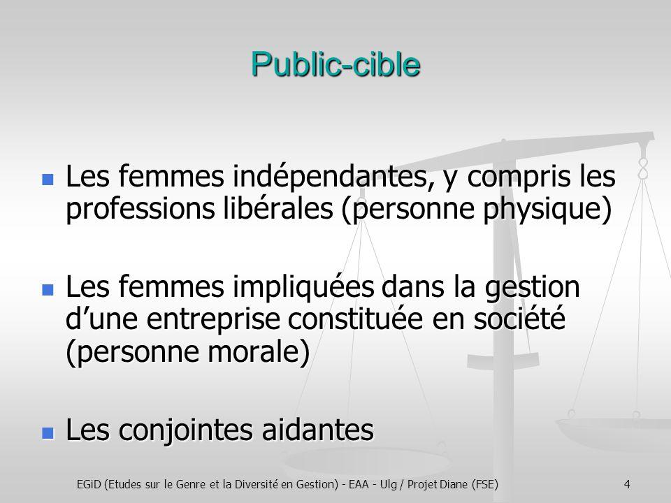 EGiD (Etudes sur le Genre et la Diversité en Gestion) - EAA - Ulg / Projet Diane (FSE)4 Public-cible Les femmes indépendantes, y compris les professio