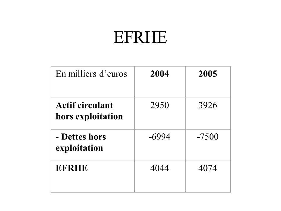 Trésorerie En milliers d'euros20042005 FDR fonctionnel -9357-9121 EFRE59536464 EFRHE40444074 = Trésorerie6401417
