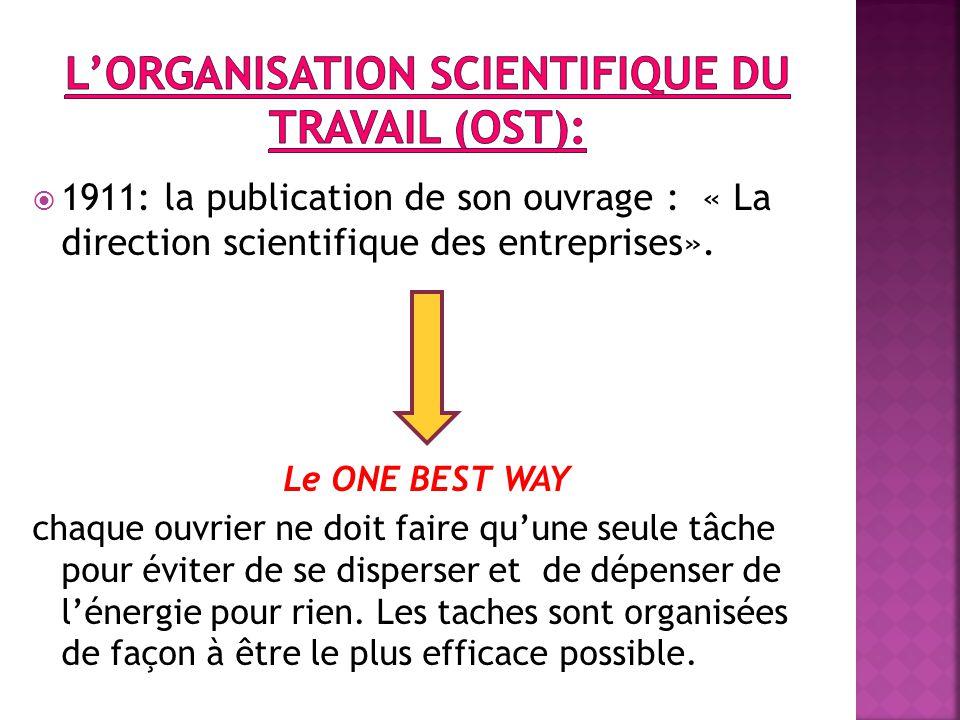  1911: la publication de son ouvrage : « La direction scientifique des entreprises».
