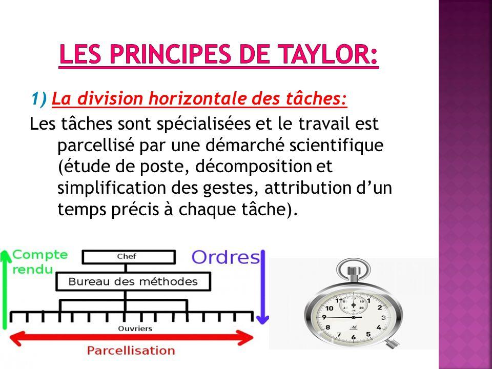 1) La division horizontale des tâches: Les tâches sont spécialisées et le travail est parcellisé par une démarché scientifique (étude de poste, décomposition et simplification des gestes, attribution d'un temps précis à chaque tâche).