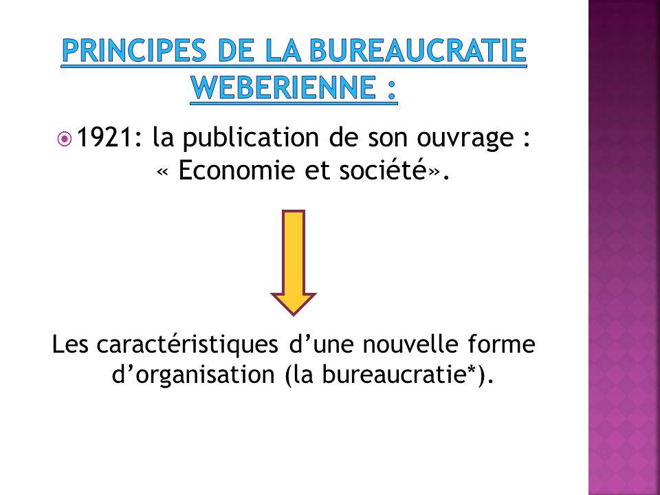  1921: la publication de son ouvrage : « Economie et société».