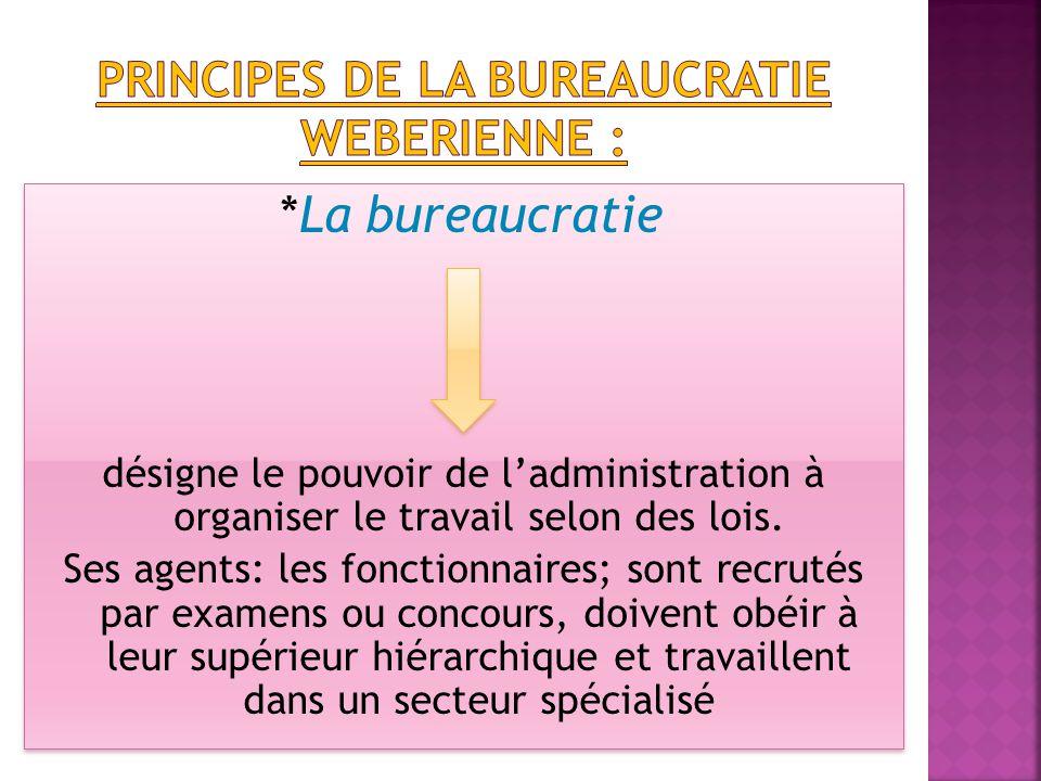*La bureaucratie désigne le pouvoir de l'administration à organiser le travail selon des lois.