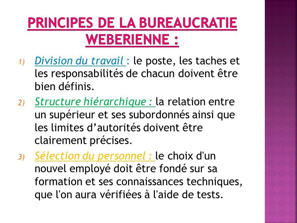 1) Division du travail : le poste, les taches et les responsabilités de chacun doivent être bien définis.
