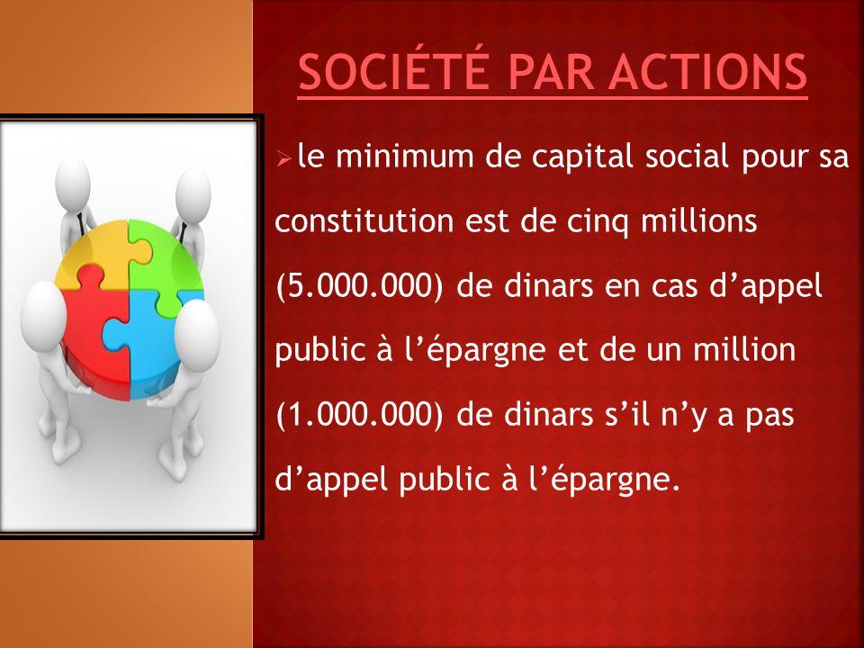  le minimum de capital social pour sa constitution est de cinq millions (5.000.000) de dinars en cas d'appel public à l'épargne et de un million (1.0