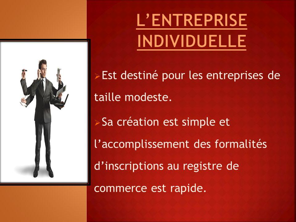  Est destiné pour les entreprises de taille modeste.  Sa création est simple et l'accomplissement des formalités d'inscriptions au registre de comme