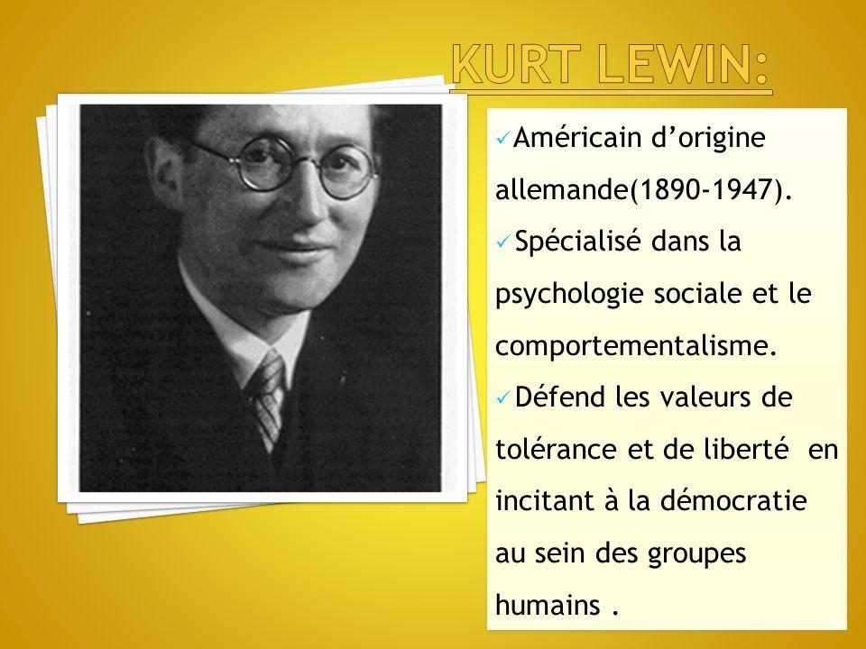 Américain d'origine allemande(1890-1947). Spécialisé dans la psychologie sociale et le comportementalisme. Défend les valeurs de tolérance et de liber