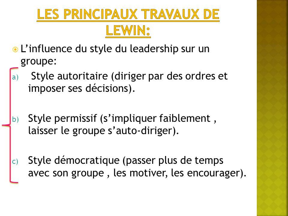  L'influence du style du leadership sur un groupe: a) Style autoritaire (diriger par des ordres et imposer ses décisions). b) Style permissif (s'impl