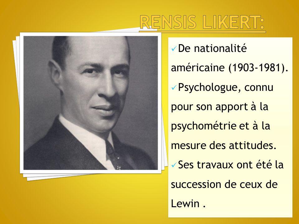 De nationalité américaine (1903-1981). Psychologue, connu pour son apport à la psychométrie et à la mesure des attitudes. Ses travaux ont été la succe