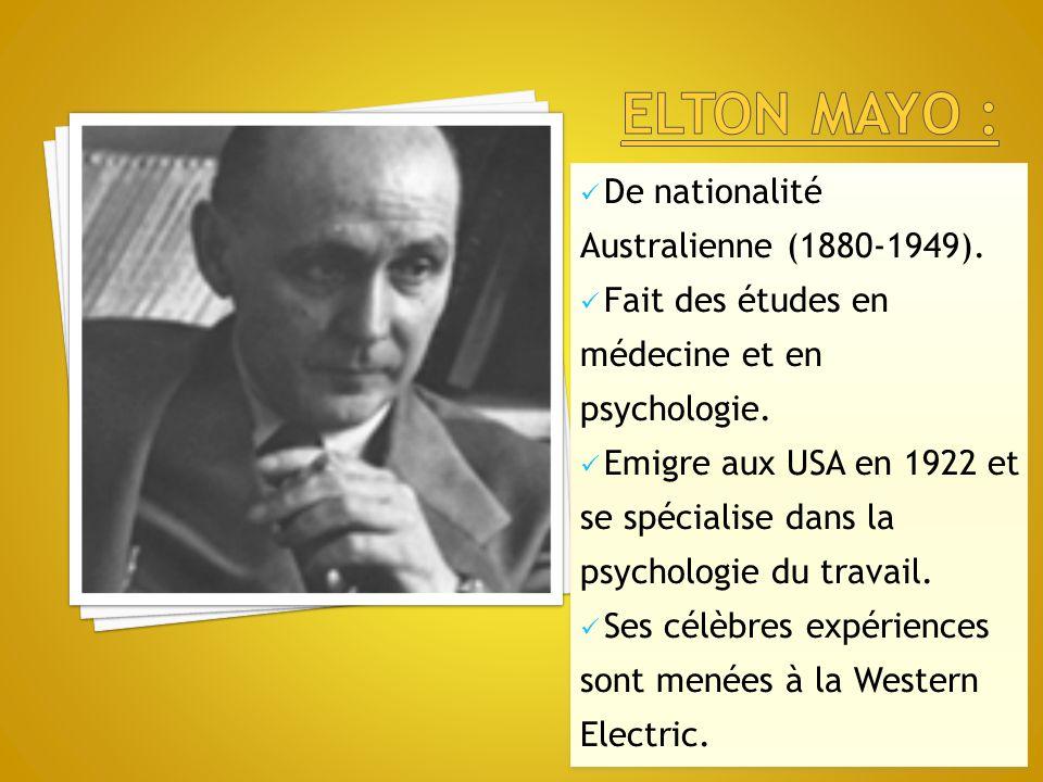 De nationalité Australienne (1880-1949). Fait des études en médecine et en psychologie. Emigre aux USA en 1922 et se spécialise dans la psychologie du