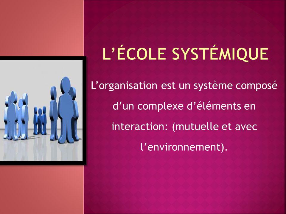 L'organisation est un système composé d'un complexe d'éléments en interaction: (mutuelle et avec l'environnement).