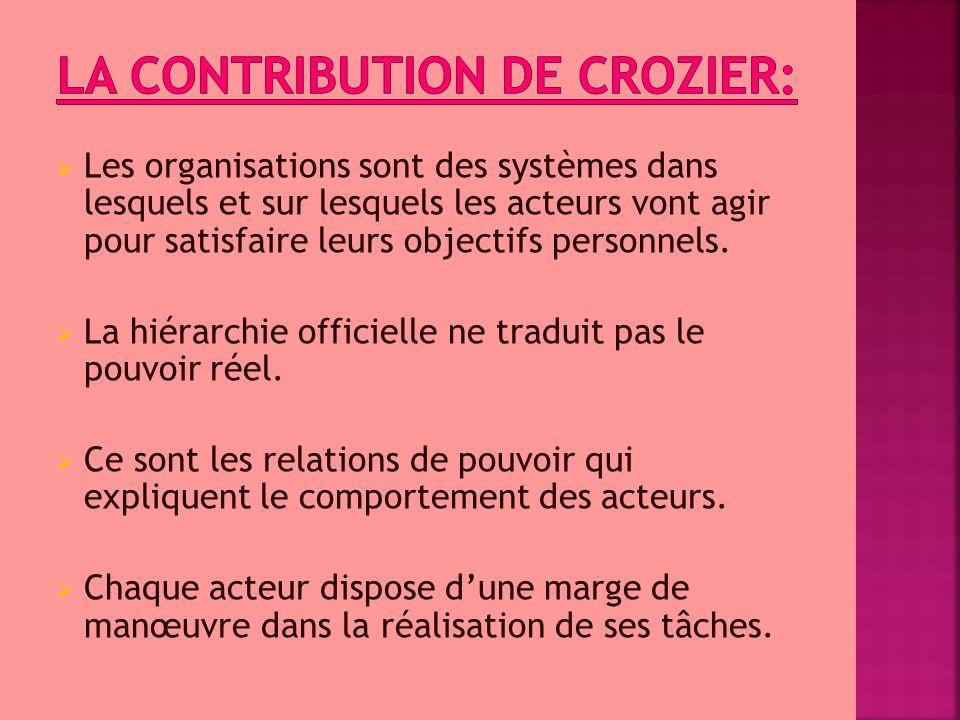  Les organisations sont des systèmes dans lesquels et sur lesquels les acteurs vont agir pour satisfaire leurs objectifs personnels.  La hiérarchie