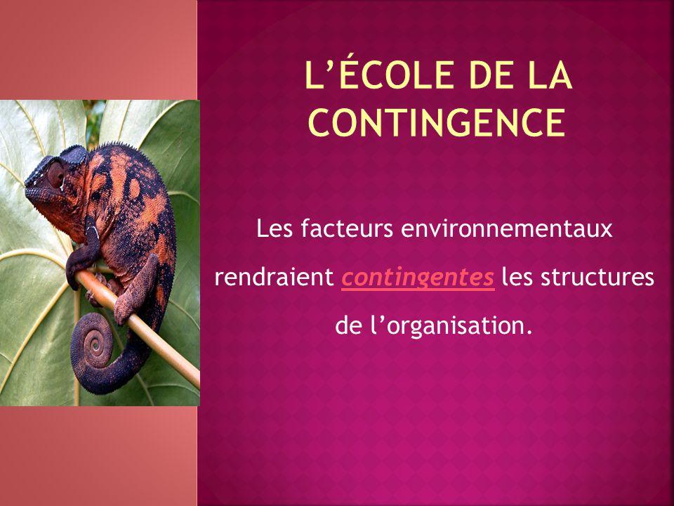 Les facteurs environnementaux rendraient contingentes les structures de l'organisation.