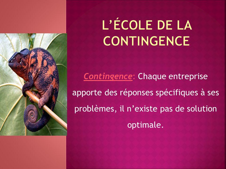 Contingence: Chaque entreprise apporte des réponses spécifiques à ses problèmes, il n'existe pas de solution optimale.